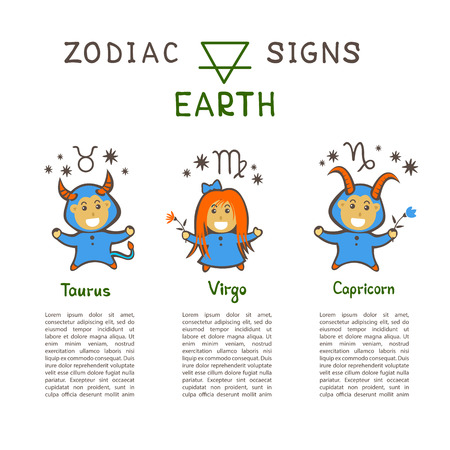 Zodiac signs according to Earth element: Taurus, Virgo, Capricorn. Zodiac constellations. Template for horoscope and astrological forecast. Cartoon horoscope characters.
