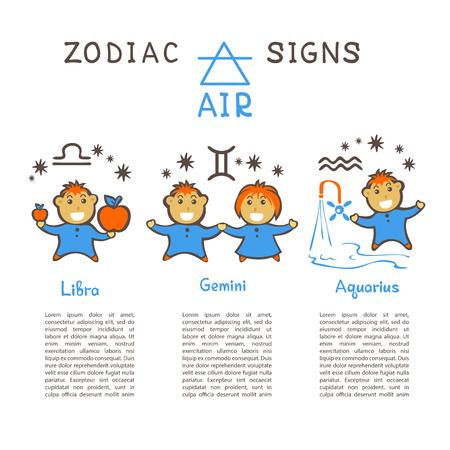 Sternzeichen nach Luftelement: Zwillinge, Waage, Wassermann. Sternzeichen Konstellationen. Vorlage für Horoskop und astrologische Vorhersage. Zeichentrickfiguren des Horoskops. Vektorgrafik