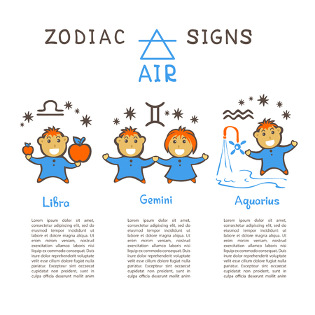 Zodiac signs according to Air element: Gemini, Libra, Aquarius. Zodiac constellations. Template for horoscope and astrological forecast. Cartoon horoscope characters. Vektorgrafik