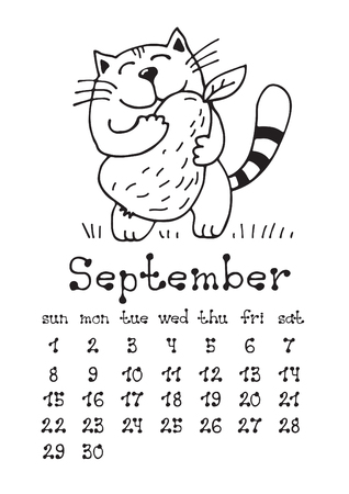 Calendar page with cute doodle cat isolated on white background. Wall monthly calendar or desk calendar 2019. September Month. Hand drawing style.