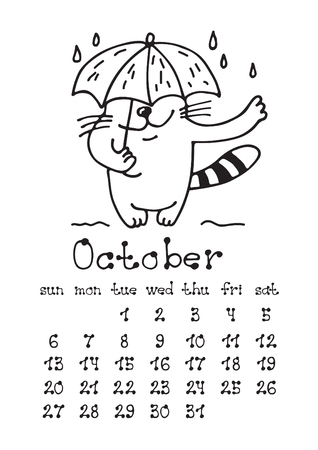 Calendar page with cute doodle cat isolated on white background. Wall monthly calendar or desk calendar 2019. October Month. Hand drawing style.