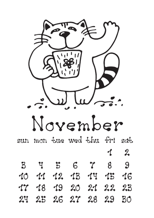 Calendar page with cute doodle cat isolated on white background. Wall monthly calendar or desk calendar 2019. November Month. Hand drawing style.