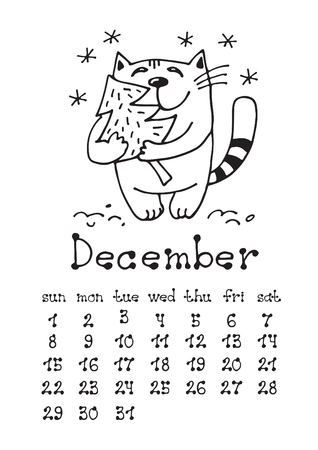 Calendar page with cute doodle cat isolated on white background. Wall monthly calendar or desk calendar 2019. December Month. Hand drawing style.
