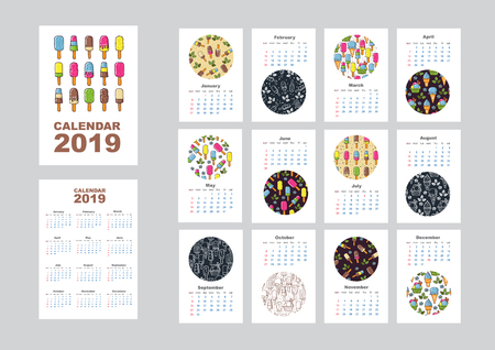 Wall monthly calendar or desk calendar 2019 with ice cream pattern. Calendar sheets and cover. Vector illustration.