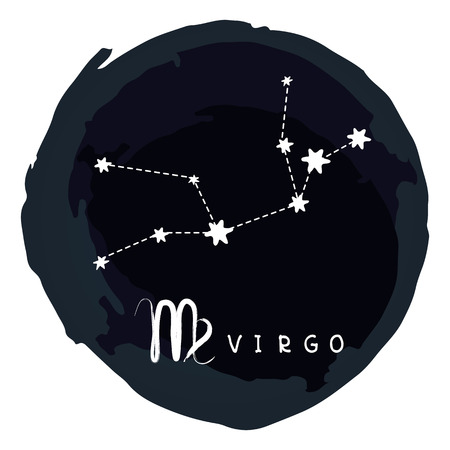 Zodiac sign Virgo with ink grunge frame isolated on white background. Zodiac constellation. Design element for horoscope and astrological fo