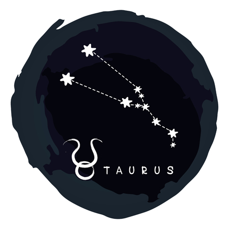 Zodiac sign Taurus with ink grunge frame isolated on white background. Zodiac constellation. Design element for horoscope and astrological forecast.