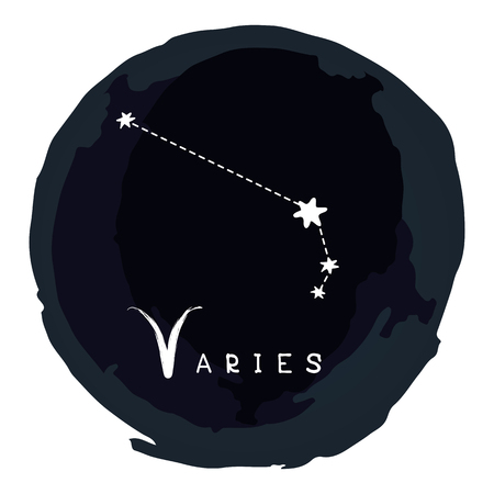 Zodiac sign Aries with ink grunge frame isolated on white background. Zodiac constellation. Design element for horoscope and astrological forecast. Illustration