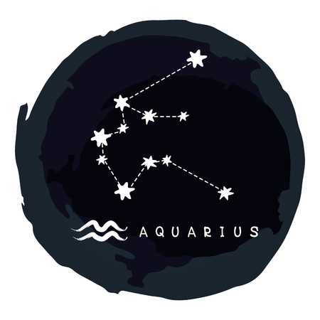 Zodiac sign Aquarius with ink grunge frame isolated on white background. Zodiac constellation. Design element for horoscope and astrological forecast.
