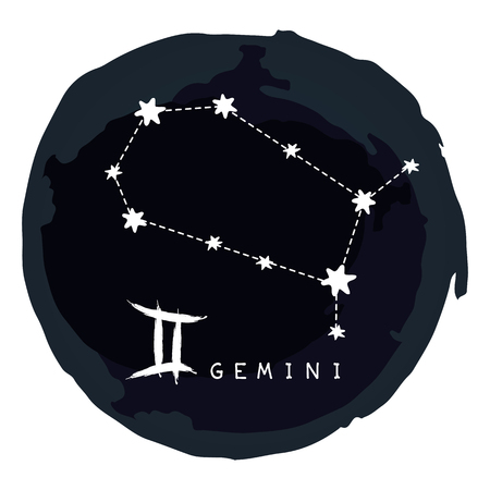 Zodiac sign Gemini with ink grunge frame isolated on white background. Zodiac constellation. Design element for horoscope and astrological forecast.