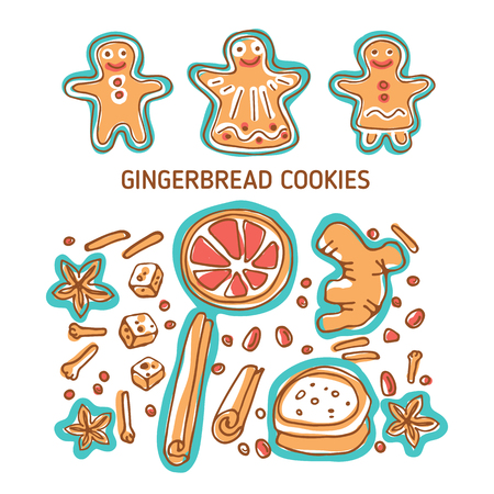Christmas cute gingerbread cookies and spices isolated on white background. Doodle style. Design elements for greeting cards, leaflets, posters, banners and home decorations. Holiday symbols. 일러스트