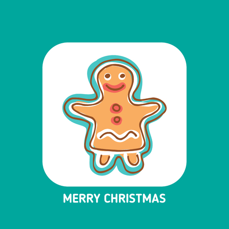 Cute Christmas gingerbread woman isolated on white background. Doodle style. Design element for greeting card, leaflet, poster, magnet or sticker. Holiday symbol.