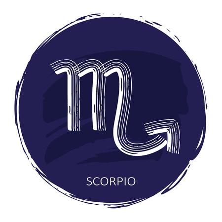 Zodiac sign Scorpio with blue frame isolated on white Illustration
