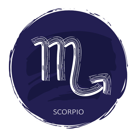 Zodiac sign Scorpio with blue frame isolated on white Ilustracja