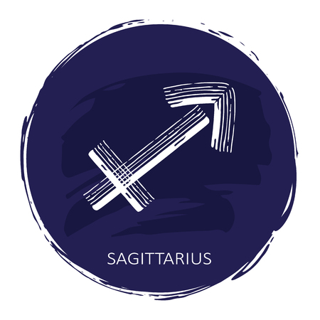 Zodiac sign Sagittarius with blue frame isolated on white