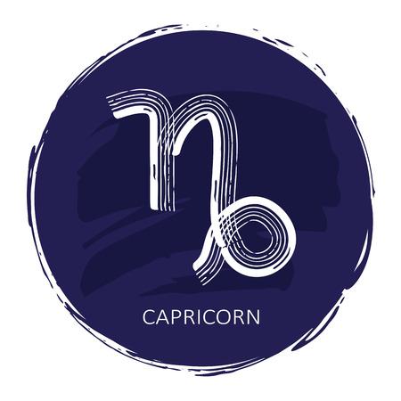 Zodiac sign Capricorn with blue frame isolated on white Illustration