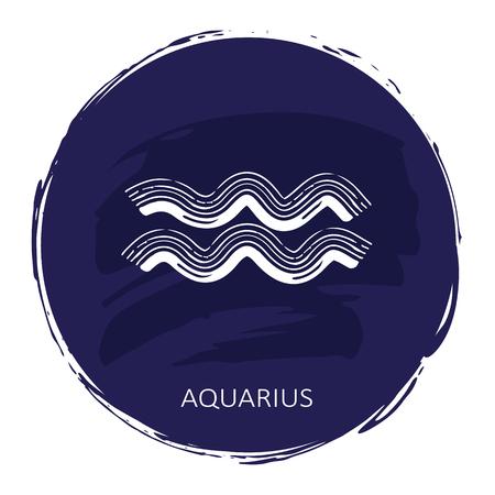 Zodiac sign Aquarius with blue frame isolated on white Illustration