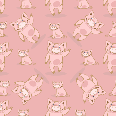 Seamless pattern with cute piglets. Illustration