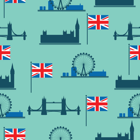 Set of London main attractions isolated on blue background. Seamless pattern. Design element for fabric, wrapping paper, wall paper, flyers or posters. Flat design.