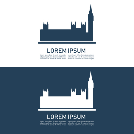 Big Ben and the Houses of Parliament in London, UK. Design element for touristic flyer, post card, leaflet, booklet, poster and etc. Flat design.