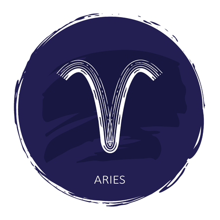 Zodiac sign Aries with blue frame isolated on white