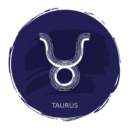 Zodiac sign Taurus with blue frame isolated on white