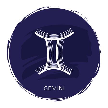 Zodiac sign Gemini with blue frame isolated on white Illustration