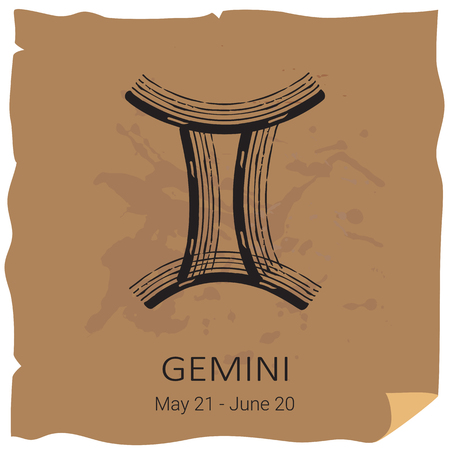 Zodiac sign Gemini with text frame on craft paper