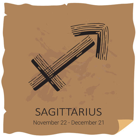 Zodiac sign Sagittarius with text frame on craft paper