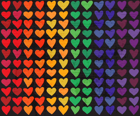 Rainbow flag with hearts. Gay pride symbol. LGBT community symbol. Design element for banner or leaflet.