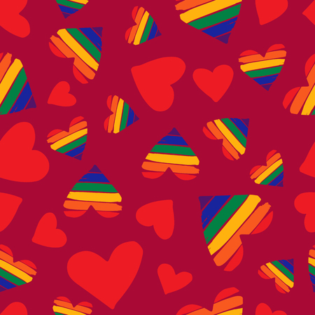 Modèle sans couture avec coeurs arc-en-ciel. Symbole de fierté gaie. Symbole de la communauté LGBT. Élément de design pour tissu, papier peint ou emballage cadeau.