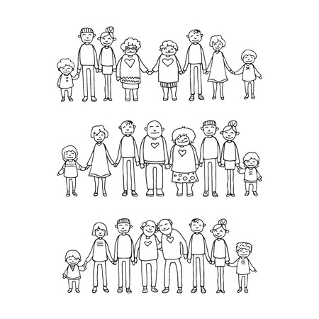 Happy family symbols. Grandparents and parents with kids isolated on white