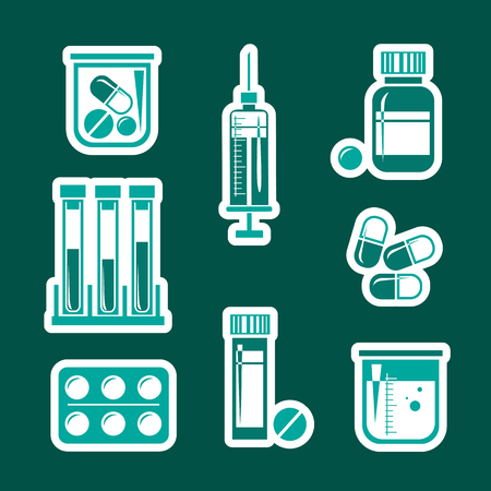 Medical icons set: blood sample tubes, pills, container, pill blister and syringe isolated on dark background. Design element for leaflet, poster or stickers. Vector illustration in flat style.