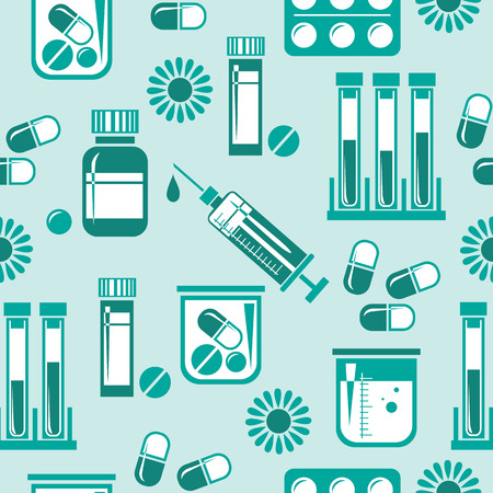 Seamless pattern with different medical pills, bottles, syringe and blood sample tubes. Design element for wrapping paper, wallpaper and fabric. Vector illustration in flat style.