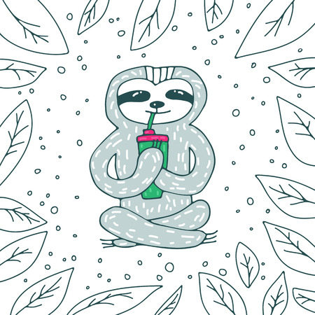 Cute sloth with coffee on white background with leaves. Hand drawn style. Design element for greeting cards, leaflets or booklets.