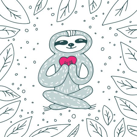 Cute sloth with heart on white background with leaves. Hand drawn style. Design element for greeting cards, leaflets or booklets. Ilustração