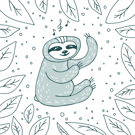 Cute sloth on white background with leaves. Hand drawn style. Design element for greeting cards, leaflets or booklets.