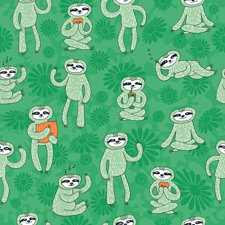 Seamless pattern with cute sloths. Hand drawn style. Design element for gift wrap, wallpaper and fabric