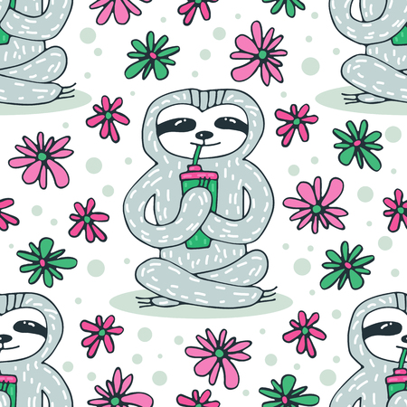 Seamless pattern with cute sloth. Hand drawn style. Design element for gift wrap, wallpaper and fabric.