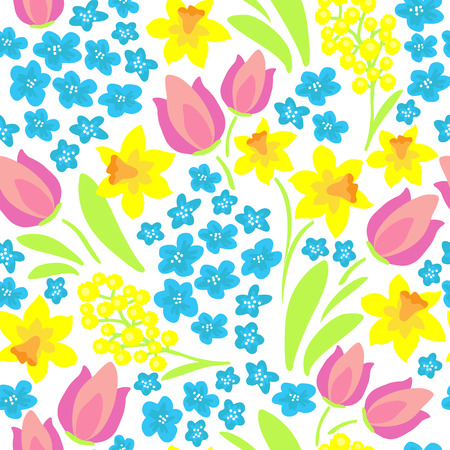 Spring flowers meadow. Seamless pattern. Design element for fabric, gift wrap or wallpaper.