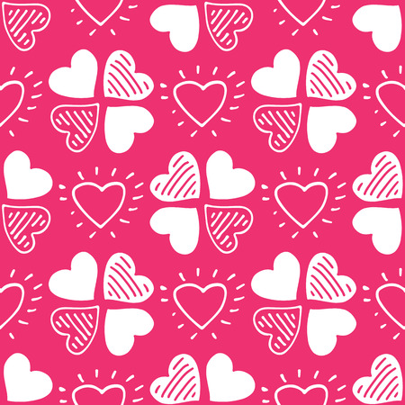Seamless pattern with hearts. Romantic vector illustration for Valentines Day. Design element for fabric, gift wrap, wallpaper or covers. Ilustração