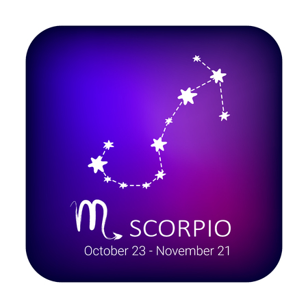 Zodiac sign Scorpio on night sky background. Zodiac constellation. Design element for horoscope and astrological forecast.