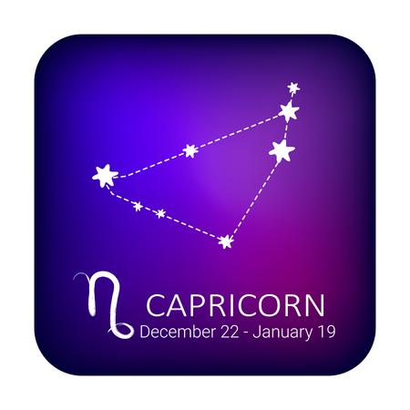 Signo zodiacal Capricornio en el fondo del cielo nocturno. Constelación del zodíaco. Elemento de diseño para horóscopo y pronóstico astrológico. Ilustración de vector