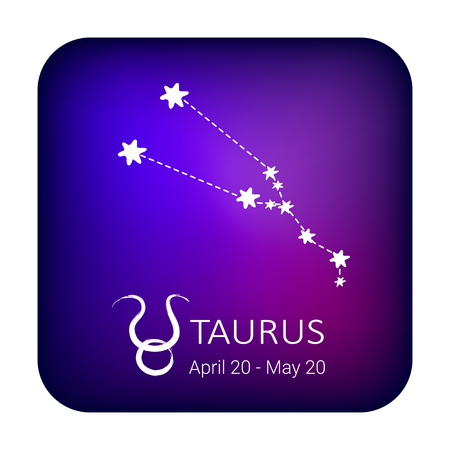 Zodiac sign Taurus on night sky background. Zodiac constellation. Design element for horoscope and astrological forecast.