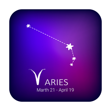 Zodiac sign Aries on night sky background. Zodiac constellation. Design element for horoscope and astrological forecast.