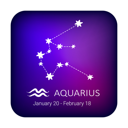Zodiac sign Aquarius on night sky background. Zodiac constellation. Design element for horoscope and astrological forecast.