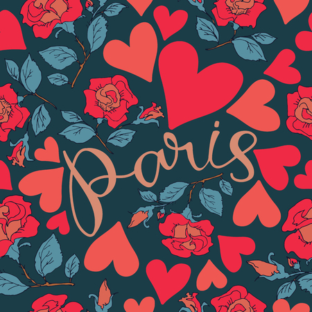 Paris hand drawn lettering withred roses. Seamless pattern. Design element for fabric, wallpaper or wrapping paper. Romantic illustration. Ilustrace