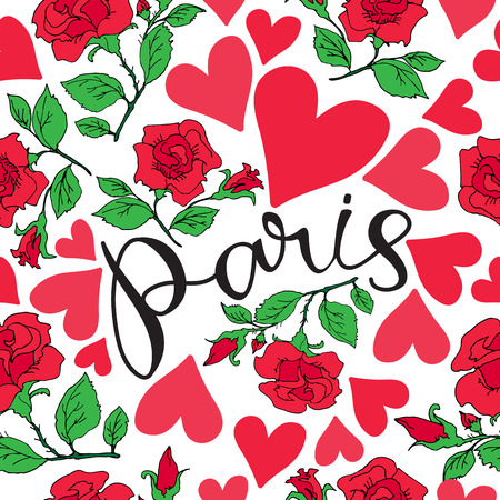 Paris hand drawn lettering with roses silhouette. Seamless pattern. Design element for fabric, wallpaper or wrapping paper. Romantic illustration.