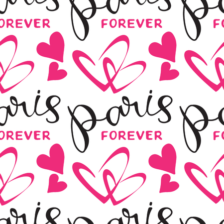 Paris hand drawn lettering withhearts silhouette. Seamless pattern. Design element for fabric, wallpaper or wrapping paper. Romantic illustration.