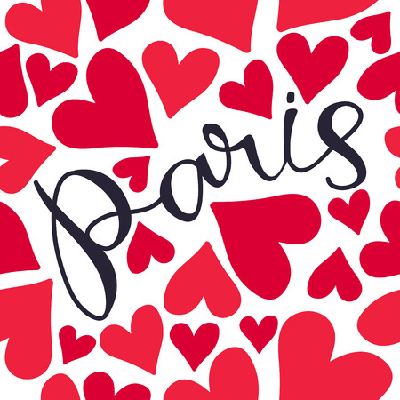 Paris hand drawn lettering with red hearts. Seamless pattern. Design element for fabric, wallpaper or wrapping paper. Romantic illustration. Ilustrace