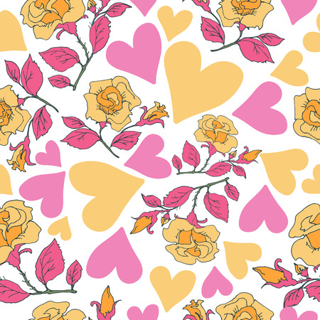 Roses and hearts. Seamless pattern. Design element for fabric, wallpaper or wrapping paper. Romantic illustration.